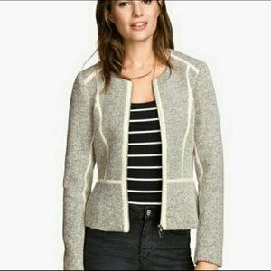 H&M Knit & Vegan Leather Zipper Moto Jacket Size 8